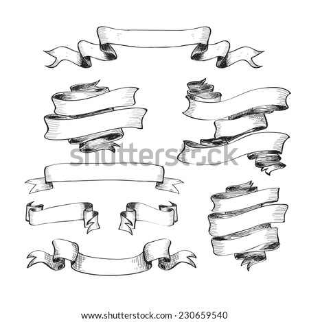 Collection of vintage ribbons. Hand drawn graphic illustrations - stock vector
