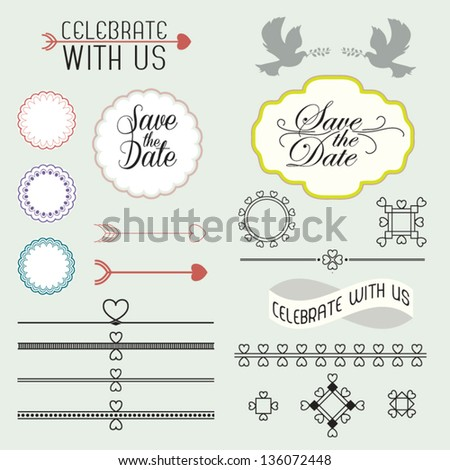 Collection of vintage romantic page design elements with labels and ornamental decorations isolated on light background - vector set illustration - stock vector