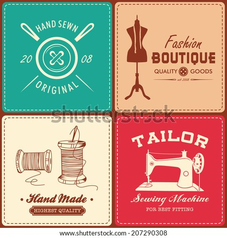 Collection of vintage sewing and tailor design element - stock vector