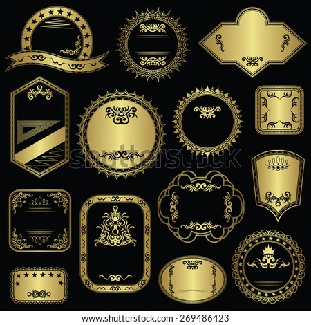 Collection of vintage stamps. Set of templates for labels. Luxury design