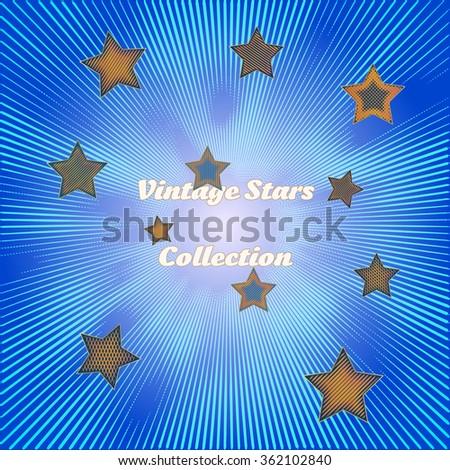 collection of vintage style golden stars on a stylish irregular star-burst background - stock vector