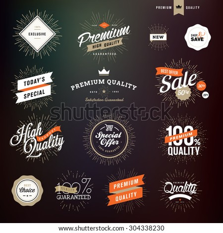 Collection of vintage style premium quality badges and stickers for designers - stock vector