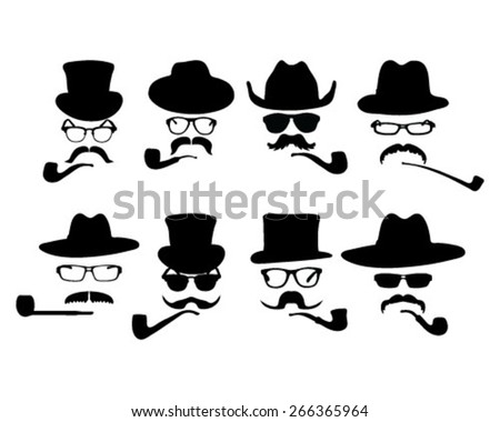 Collection of 8 vintage style silhouette people with hats, mustaches, glasses and pipe - stock vector