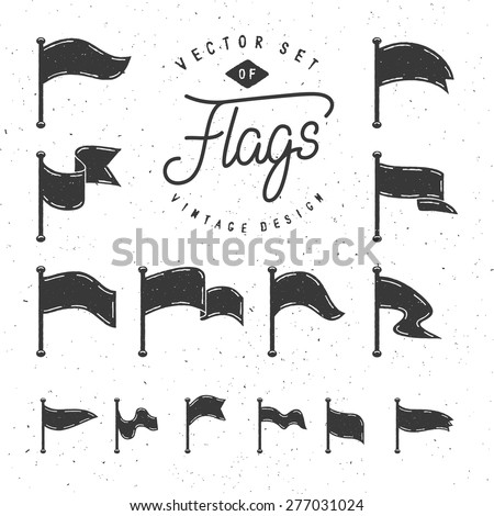 Collection Of Vintage Stylized Waving Flags For Your Design - stock vector