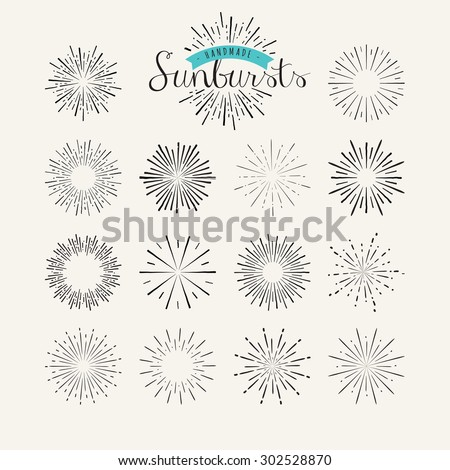 Collection of vintage sunburst design elements. Handmade template elements for graphic and web design.     - stock vector
