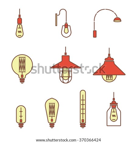 Collection of vintage symbols light bulbs and lamps.Edison light bulbs.Template for design. Business Signs, Logos, Elements, Labels, Sticker and Other Design Elements Vector illustration. Isolated  - stock vector