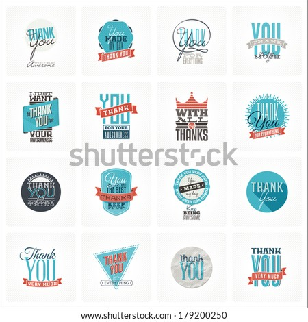 Collection of 16 vintage Thank You card designs. Well structured vector file with each card template on separate layer. - stock vector