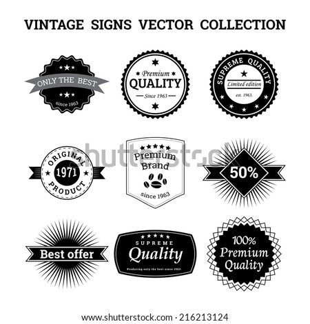 Collection of vintage vector logos and signs - stock vector
