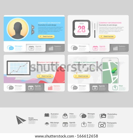 Collection of vitange business cards with flat Ui elements and icons for website templates - stock vector