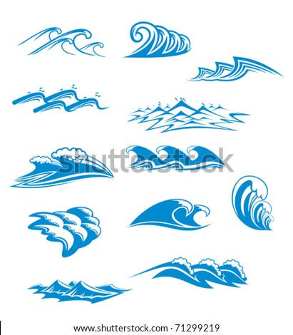 Collection of wave icons in blue with curling and cresting waves in twelve different designs, vector illustration. Jpeg version also available in gallery - stock vector