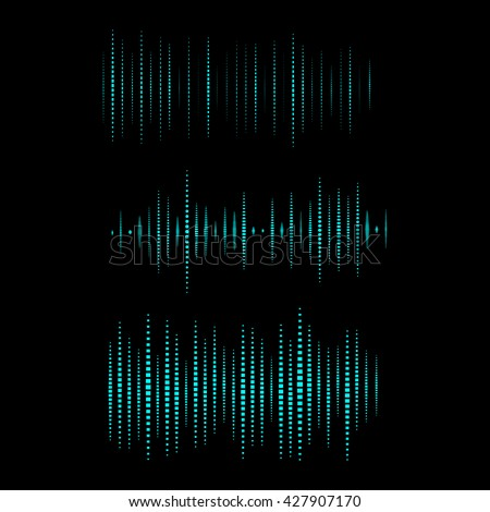 Collection of waveform. Vector illustration for club, radio, party, concerts or the audio technology advertising background. Easy to use. - stock vector