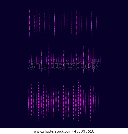 Collection of Waveform.. Vector illustration for club, radio, party, concerts or the audio technology advertising background.