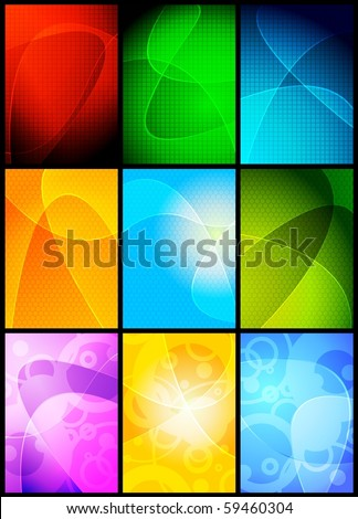 Collection of 9 wavy backgrounds - eps 10 - stock vector