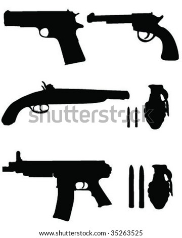 collection of weapon silhouettes - stock vector