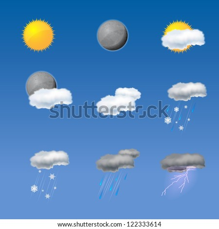 Collection of weather icons - stock vector