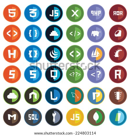 collection of web development shield signs - html5 css3 javascript isolated round icons - stock vector