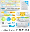 Collection of web elements, menu item, carousel, icons, ribbons, template for headers, footers,bar, side bar and so on. - stock photo