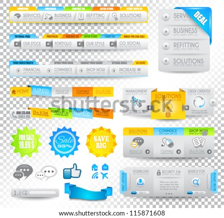 Collection of web elements, menu item, carousel, icons, ribbons, template for headers, footers,bar, side bar and so on. - stock vector