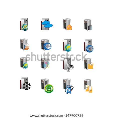 Collection of web icons which can use mainly used to represent digital information, file system, multimedia, email, message and data hardware/servers of an information technology - stock vector