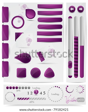 Collection of website elements, vector EPS10. - stock vector