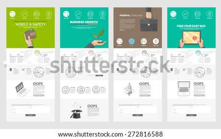 Collection of website page templates for business: Set of four flat website pages with banners and concept icons for company portfolio - stock vector