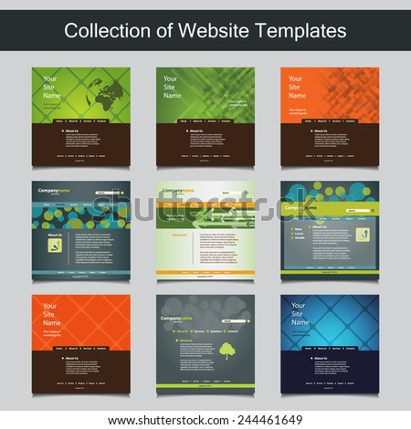 Collection website templates your business nine stock vector collection of website templates for your business nine nice and simple design templates with different friedricerecipe Image collections