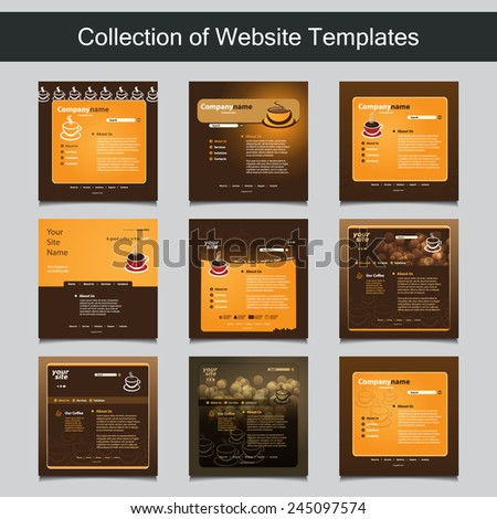 Collection of Website Templates for Your Business - Nine Nice and Simple Design Templates with Different Patterns and Header Designs - Coffee Shop, Cafe - stock vector