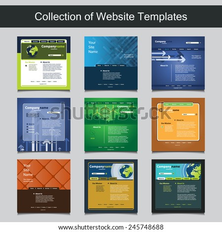 Collection of Website Templates for Your Business - Nine Nice and Simple Design Templates with Different Patterns and Header Designs - Green, Eco, Business - stock vector
