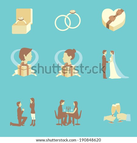 Collection of wedding flat color elements for wedding events - stock vector