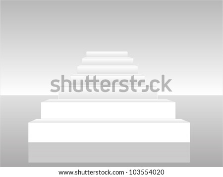 Collection of white 3d staircases. Vector illustration. - stock vector
