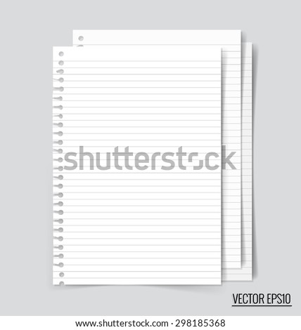 Collection of white note papers, ready for your message. Vector illustration. - stock vector