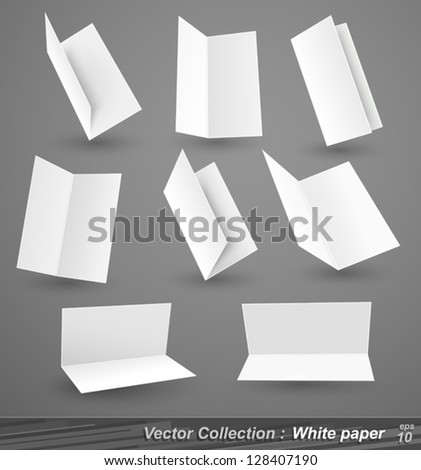 Collection of white paper isolated on gray - stock vector