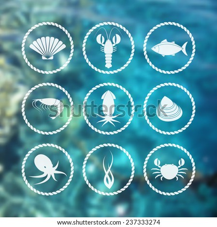 Collection of white seafood icons in flat style on blur background - stock vector