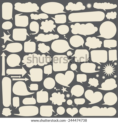 Collection of white speech bubbles. Vector - stock vector