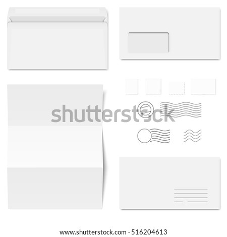 collection of white standard size envelopes and different postage stamps