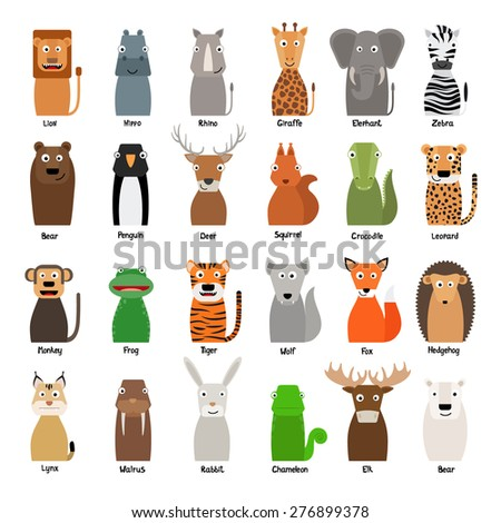 Collection of Wild Animals Vector Illustration - stock vector