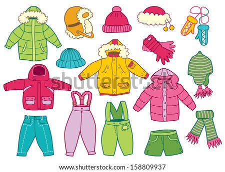 Collection Of Winter Childrens Clothing
