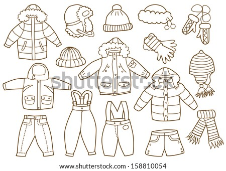 collection of winter children's clothing - stock vector