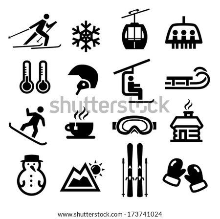 Collection of winter icons representing skiing and other winter outdoor activities. - stock vector