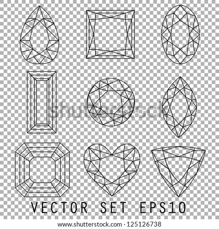 Collection of Wireframe Gemstones, Vector EPS10 - stock vector