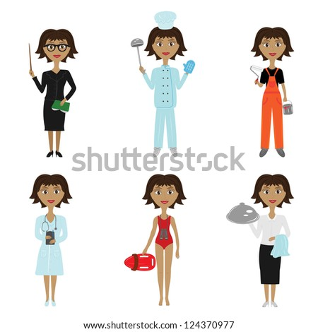 collection of women's professions on white background