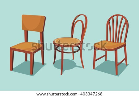 collection of wooden chairs cartoon isolated vector illustration