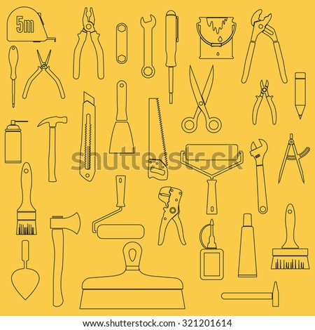 Collection of working tools and construction elements. hand tools for home renovation. Outline. Background. Vector illustration