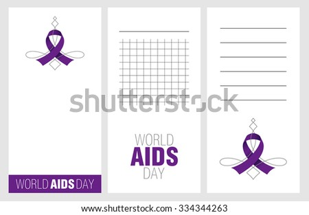 Collection of world aids day cards, notes, stickers, labels, tags with cute ornament illustrations. Template for scrapbooking, wrapping, notebooks, notebook, diary, decals, school accessories
