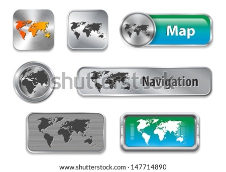 Collection of World map on brushed metallic and glossy buttons. Vector illustration - stock vector