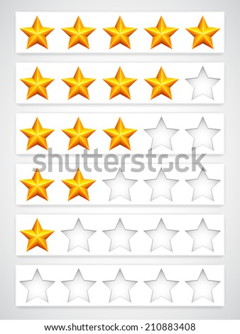 Collection of yellow rating stars.