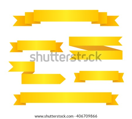 Collection Yellow Ribbon Banners Set Infographic Stock Vector ...
