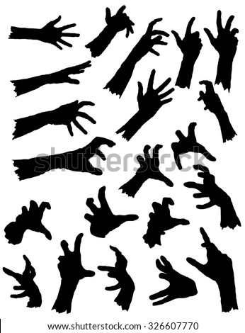 Collection of Zombie Hands in different poses. Vector Zombie Hand Silhouettes.