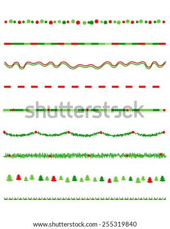 Collection on christmas borders / divider graphics including holly border, candy cane pattern, christmas trees and more - stock vector