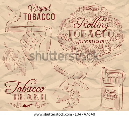 Collection on tobacco and smoking a pack of cigarettes vintage tobacco leaves hands with a cigarette on crumpled paper in brown - stock vector